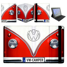VW Volkswagen Minivan Camper Red Apple iPad 2 3 4 Mini Air Flip Case Cover