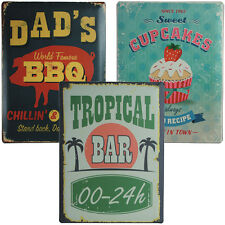Metall-Schild Nostalgie Blech Dad's BBQ Cakes Tropical Bar Retro Antik 30x40cm