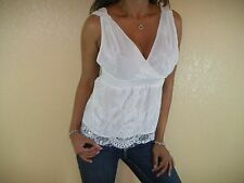 SEXY WHITE  V NECK CLEAVAGE VTG LACE OPEN BACK EMPIRE WAIST BABYDOLL TOP WT02