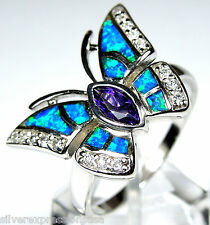 Amethyst & Blue Fire Opal Inlay 925 Sterling Silver Butterfly Ring size 6 - 9