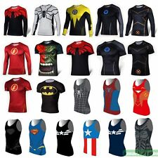 Marvel Superhero Long Short Sleeve Tank Top Vest T-Shirts Sport Cycling Jersey