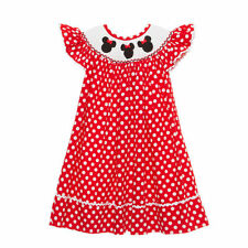 Smocked Minnie Mouse Disney bishop dress girl red Mickey boutique