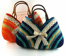 2015 Fashion summer straw bag Sweet lady Rainbow Handbags beach bag 5 colors