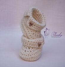 Hand Knitted Crochet Crema Baby Girl Mary Jane Botines calcetines Zapatos, Recién Nacido Regalo