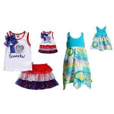 """Dollie Me Sz 4-14 and 18"""" doll matching  dress outfit clothes fit american girl"""
