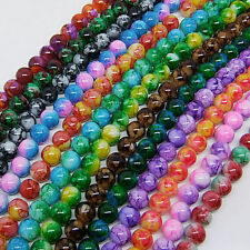 30pcs 8mm Round Chic Glass Loose Spacer Bead DIY Fingdings U Pick Colors