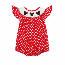 New smocked minnie bubble romper *girl Disney red polka dot boutique* 3m - 18m