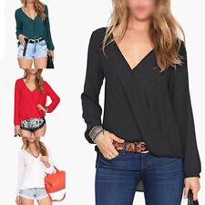Sexy Fashion Womens Loose Chiffon V Neck Tops Long Sleeve T Shirt Casual Blouse
