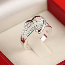 Newest Bling 925 Silver Gemstone Design Heart Love Women Wedding Ring Size 6-9