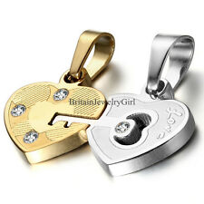 "2 PCS His & Hers Stainless Steel ""Love"" Key Lock Heart Pendant Chain Necklace"