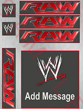 WWE / RAW wrestling ring icing cake topper kit /matching cupcakes / add message