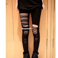Ripped Stretch Torn Slashed Leggings Punk Low Rise Render Pants Thights ESY1