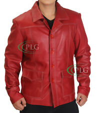 Fight Club Brad Pitt Leather Jacket FC Coat Red Brand New - ALL SIZES AVAILABLE