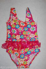 Toddler Girls Swim Suit ONE PIECE Pink FLOWERS 12 Mo 18 Mo 24 Mo Ruffle