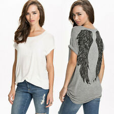 Women Fashion Angel Wings Printed Short Sleeve O-Neck Casual Loose Tops T-Shirt