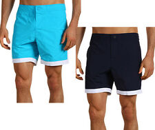 New Mens Lacoste Croc Logo Retro Piped Blue or Navy Swim Trunks Board Shorts
