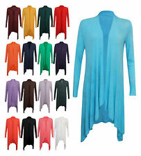 New Womens Long Sleeve Italian Waterfall Open Long Cardigan Top One Size 8-14