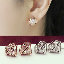 Women Fashion Crystal Rhinestone Hollow Earrings Pierced Ear Stud Jewelry New