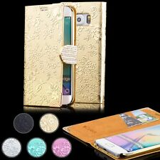 iCues CHROME FLOWER RHINESTONE Cover + Screen Protector Flip Case Wallet Purse