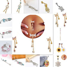Wholesale 1pc Crystal Bow Dangle Navel Belly Bar Button Ring Body Piercing Ring