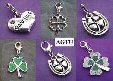 PICK YOUR CHARM Clip On Silver Tone 3 Three or 4 Four Leaf Clover Charm Goodluck