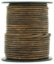 Brown Antique Round Leather Cord 1.5mm 25 meters (27 yards)