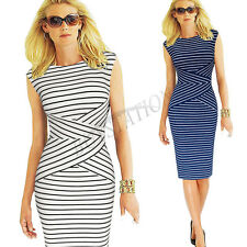 Womens Summer Elegant Striped Wear to Work Office OL Bodycon Casual Pencil Dress