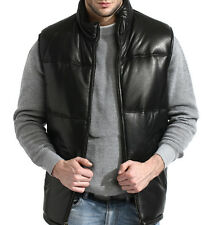 mens black leather bubble vest, premium lambskin, padded, zip front, quilted