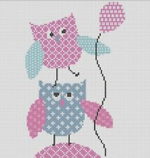Counted Cross Stitch Pattern or Kit, Owls, Nursery art, Birth sampler, new baby