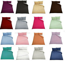 Plain Duvet Cover with PillowsCases Quilt Cover Bed Set Single Double King & S-K