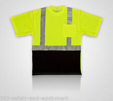 5 Pack Hi-Vis Green/Black T-Shirts Safety Hi-Vis Sizes M-5XL Reflective Stripes