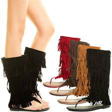 New Women 3 Layer Fringe Thong Open Toe Gladiator Flat Sandal Mid Calf Knee Boot