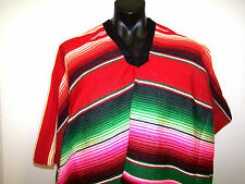 Genuine Mexican Poncho Saltillo sarape style red blanket costume party