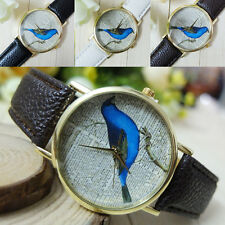 Fashion Geneva Women Quartz Newspaper Dictionary Print Bird Watch Ornament