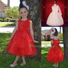 Sequins Tulle Flower Girls Dress Wedding Gathering Occasion Kid Size 2-7 FG275