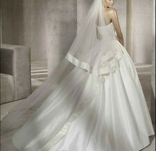 2T-Ivory-White-Bridal-Wedding-Cathedral-Satin-Edge-Veil-With-Comb