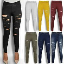 WOMENS LADIES SKINNY FIT RIPPED JEANS JEGGINGS STRETCH SLIM DENIM CASUAL SIZE UK