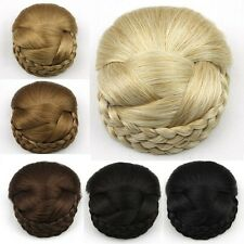 Clip In On Women's Braided Hair Bun Chignon Donut Roller Hairpieces Top Quality