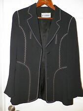 WOMEN'S GIANFRANCO FERRE BLACK WITH WHITE STITCHING BLAZER JACKET SZ 42 BUTTON