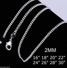 925 Sterling Silver 2mm Flat Chain Necklace 16 -30 Inch Flat Lobster Clasp UK