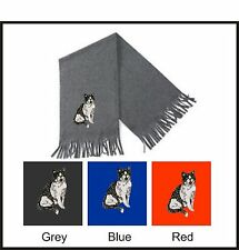 Black & White Short Haired Cat Scarf Embroidered by Dogmania
