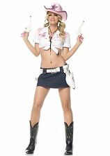 Women's Sexy 4pc Rodeo Cowgirl Western Sheriff Adult Halloween Costume