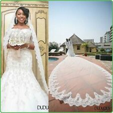 Cathedral White/ivory Lace Edge Bridal Wedding  1 Tier Bridal Veil+ comb