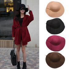 New Women's Wide Brim Wool Felt Bowler Fedora Hat Floppy Beach Bowknot Cap