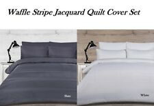 Waffle Stripe Jacquard Quilt Doona Cover Set Single Double Queen King SUPER King