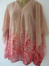 NEW ONE SIZE FITS 8-16 SEMI SHEER FLORAL ZIP FRONT BATWING,KIMONO TOP