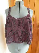 ATMOSPHERE BY PRIMARK DARK PURPLE SEQUINNED BEADED EMBROIDERED CROP TOP 18 PARTY