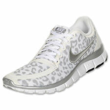 Nike Free 5.0 V4 women sneakers in white cheetah / leopard,  grey & silver RARE!