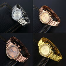 Geneva Bling Crystal Women Girl Unisex Stainless Steel Quartz Wrist Watch OE