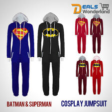 Costume Super Hero Superman Batman Hooded Zip Cosplay Onesie Playsuit Jumpsuit